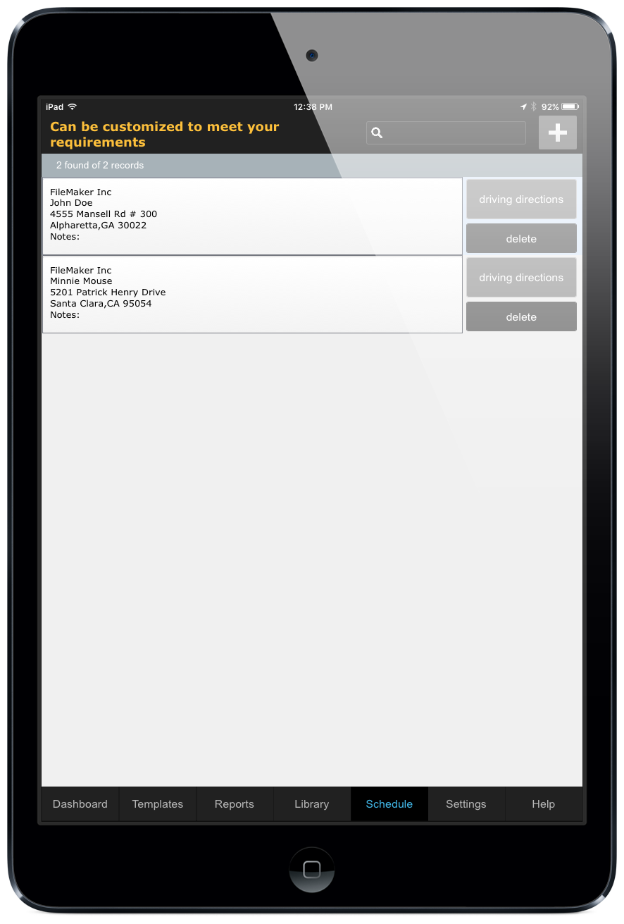 Screenshot of schedule list in ccAudits customizable template and form building app