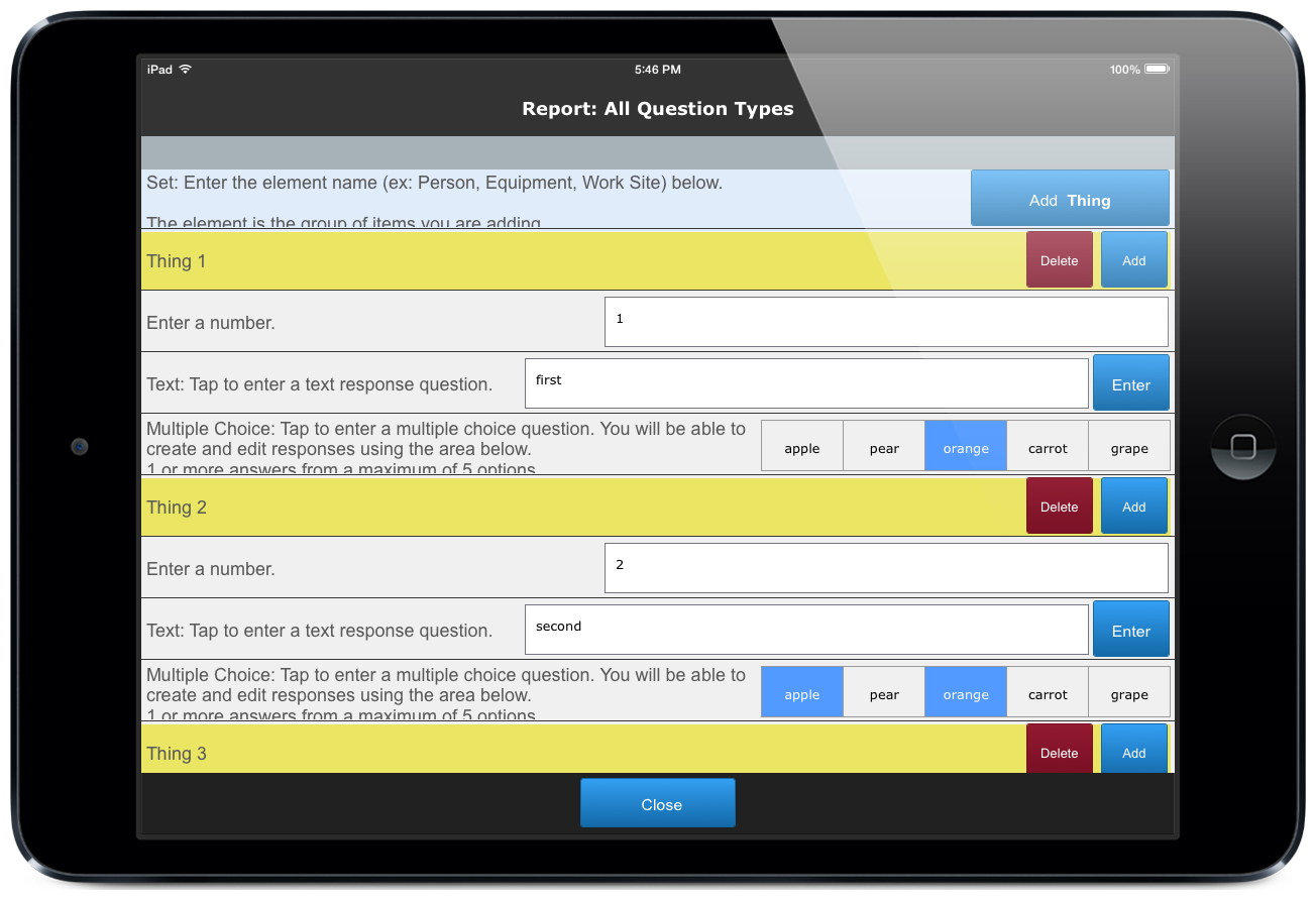 Screenshot of set questions created by ccAudits mobile forms templates