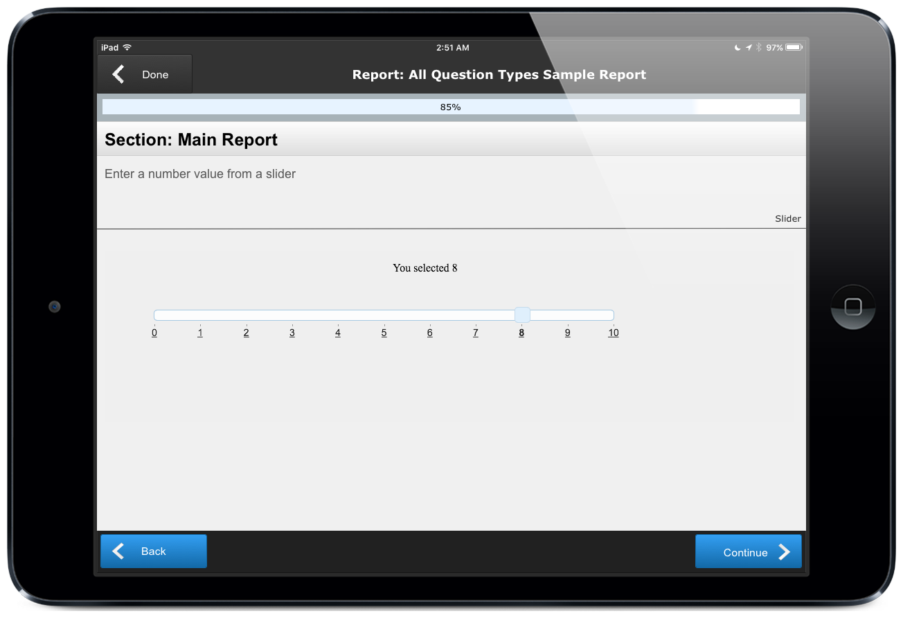 Image of slider tool for entering numbers in a ccAudits mobile form building app