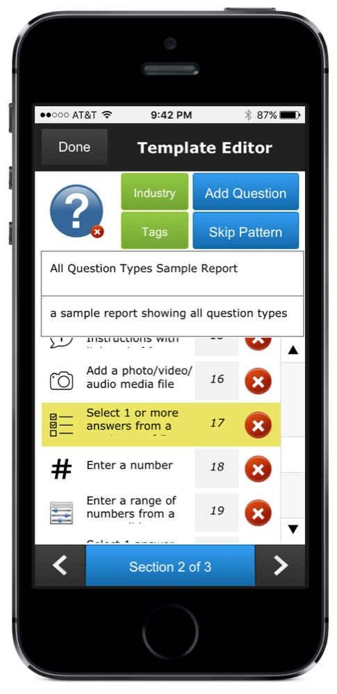 iPhone screenshot of ccAudits inspection form, survey, and questionnaire template editor