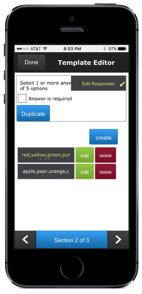 iPhone screenshot of survey multiple choice template question available in ccAudits mobile form building app